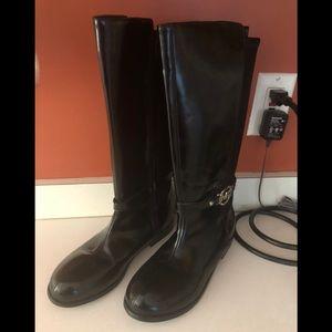 M KORS LOGO TALL BLACK DRESS BOOTS GIRL SZ 5 NEW